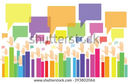 business vote.business opinion and comment .business people brainstorming .colorful business hand - stock vector