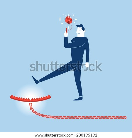 Business walk to trap lokking fake information - stock vector