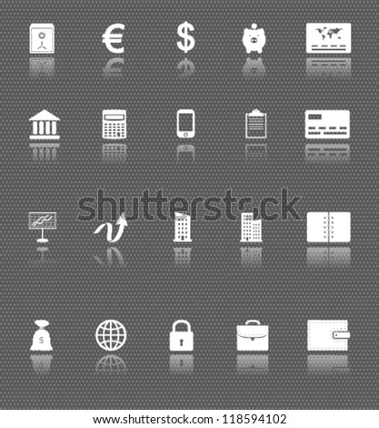 business web icons set with reflections on dark background. money and finance - stock vector