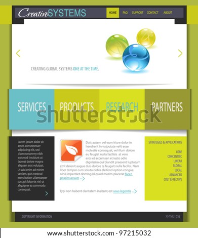 Business Web Site Template: Fresh White and Green Web Site Template, with shiny glass marbles and black, blue, gray and orange accents - stock vector