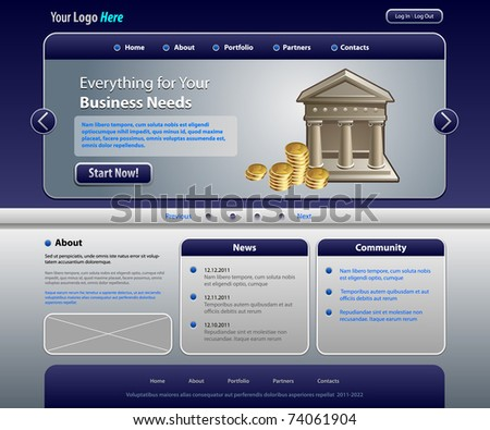 Business web template, vector (Real size) - stock vector