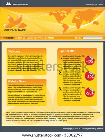 Business website template. All editable vector elements. - stock vector