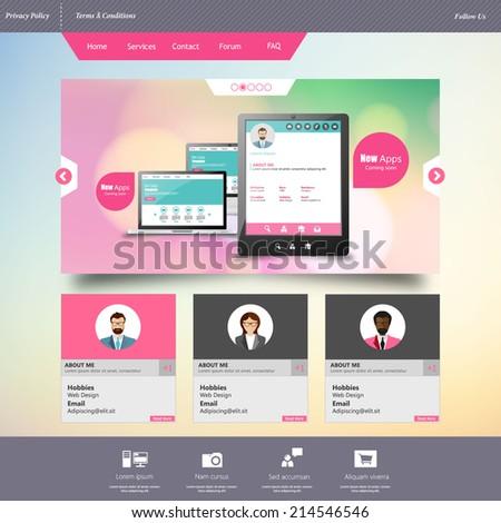 Business Website template in editable vector format  - stock vector