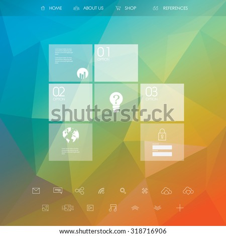 Business website template. Landing page layout with low poly background. Set of web line icons. Eps10 vector illustration. - stock vector