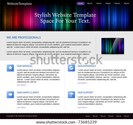 business website template with aurora spectrum lights - stock vector