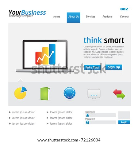 Business Website Template with icons and buttons - stock vector