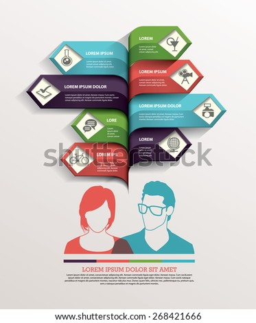 Business with people arrow infographics template. Vector illustration. - stock vector
