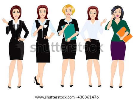 Business woman and a secretary, a set of characters isolated on white background. Girl in office clothes. Woman busy office work with documents. - stock vector