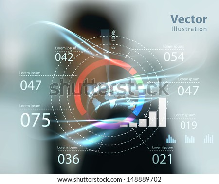 business woman and high tech type of modern buttons on a virtual background  - stock vector