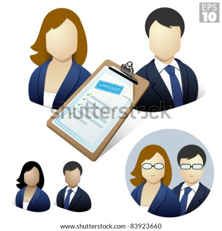 Business woman and man with approved resume on a clipboard, job application - stock vector