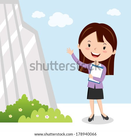 Business woman and office building. Vector illustration of a confident young woman with his resume, going for interview. - stock vector