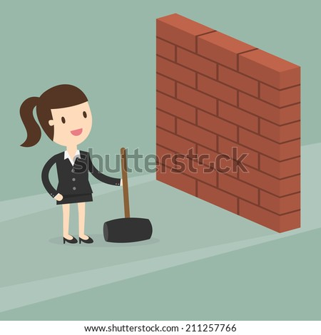 business woman breaking wall with hammer - stock vector