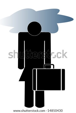 business woman carrying briefcase with her head in a storm cloud