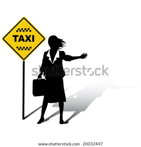Business woman catches a Taxi in the street - stock vector