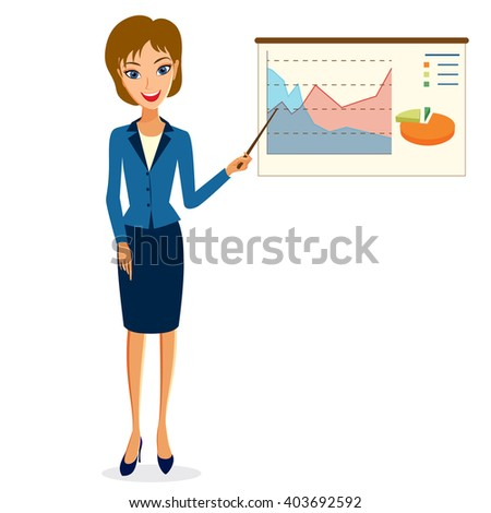 Business woman character vector. Cheerful smiling business woman character making presentation. Woman business character isolated on white background - stock vector