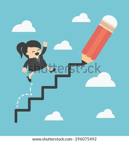 Business Woman climbing ladder of success - stock vector