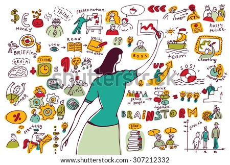 Business woman doodles presentation isolate white. Young businesswomen drawing graph. Ink hand drawn color vector illustration. EPS8.