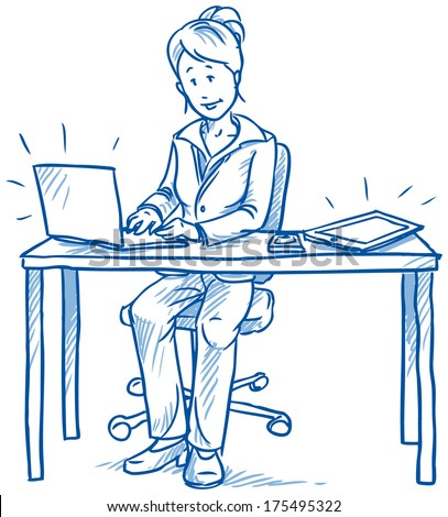 Business woman employee being happy sitting at her desk with laptop, tablet and cell phone, hand drawn sketch vector illustration - stock vector
