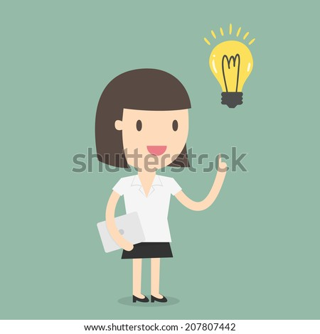 Business woman get an idea - stock vector