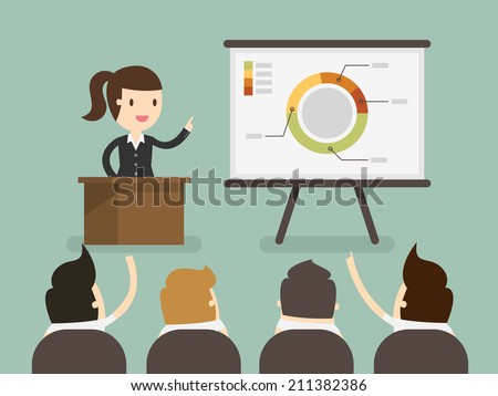 Business woman giving a presentation - stock vector
