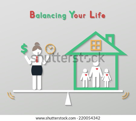 business woman holding money dollar sign and time balancing with family at home. idea balance your life business concept in modern flat style. vector - stock vector