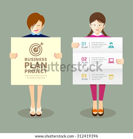 Business woman holding presentation project plan collections, vector illustration - stock vector