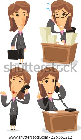 Business Woman in Elegance Formal Suit in office situations, with lots of papers, telephone, cellphone carrying a briefcase. Vector illustration cartoon. - stock vector