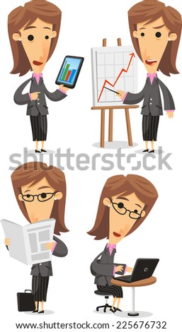 Business Woman in Elegance Formal Suit, with Businesswoman in office situation, in a meeting with statistics, with notebook, with tablet, reading the newspaper. Vector illustration cartoon. - stock vector