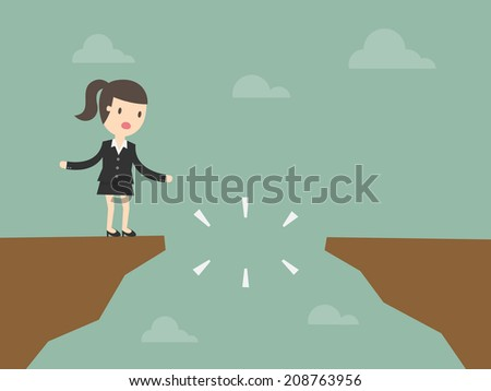 Business woman in front of a gap - stock vector