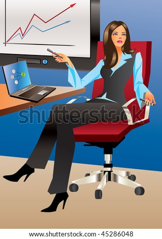 Business woman in office - Vector Illustration - stock vector