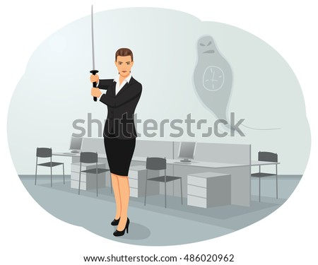 Business woman is standing with a katana sword in the office. Deadline ghost is flying on the background. Samurai workers and time management.