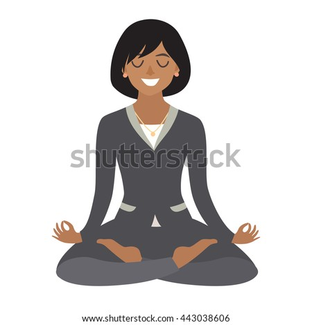 Business woman meditating. Concept of calm business, work at office. African-american  Woman in yoga pose, lotus position. Cartoon style vector illustration isolated on white background - stock vector