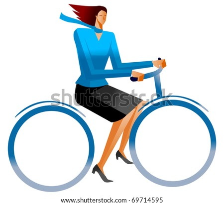business woman on bicycle - stock vector