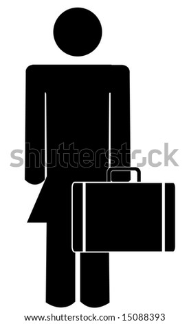 business woman or figure holding briefcase or suitcase
