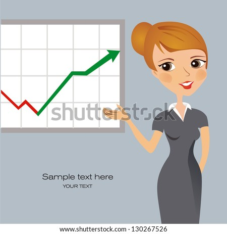 Business woman presenting - stock vector