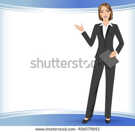Business woman presenting a copy space. Full length portrait of girl doing presentation. - stock vector