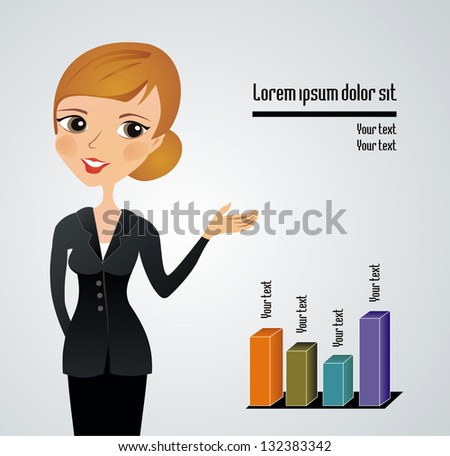 Business woman presenting. Copy space - stock vector