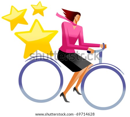business woman ride bicycle - stock vector