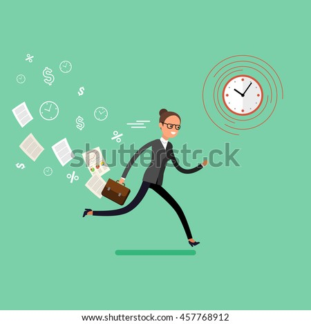 Business woman running and hurry up. Flat design, vector illustration - stock vector