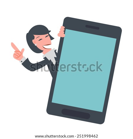 Business woman Showing Mobile Phone - stock vector