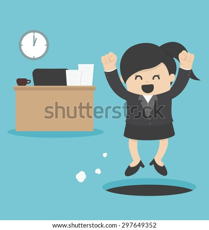 business Woman  sneak out job - stock vector