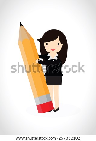 Business woman stands smiling and holding a pencil - stock vector