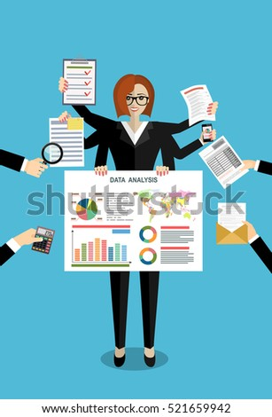 Business woman surrounded by hands with office things. Multitasking and time management concept. Vector flat design illustration. Square layout.
