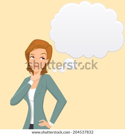 Business woman thinking - vector - stock vector