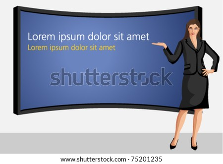 Business woman wearing black suit with presentation screen - stock vector