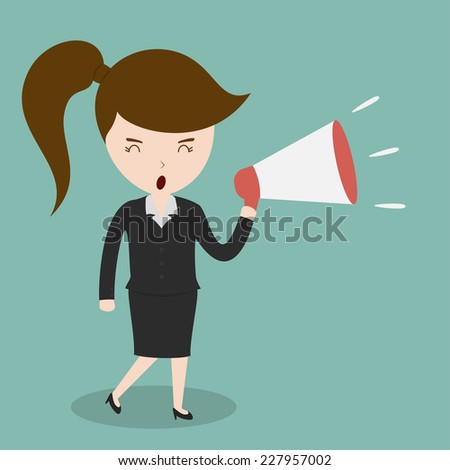 Business woman with a megaphone,Vector EPS10. - stock vector