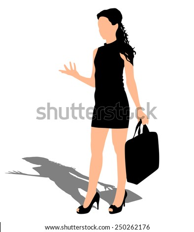 Business woman with briefcase, vector