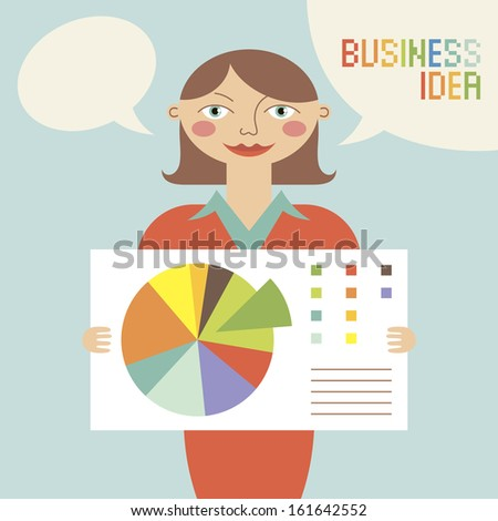 Business woman with business idea. Vector illustration.
