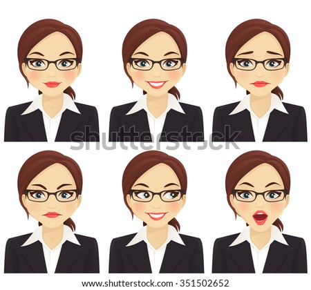 Business woman with different facial expressions set  - stock vector
