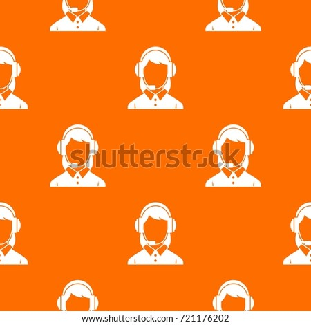 Business woman with headset pattern repeat seamless in orange color for any design. Vector geometric illustration